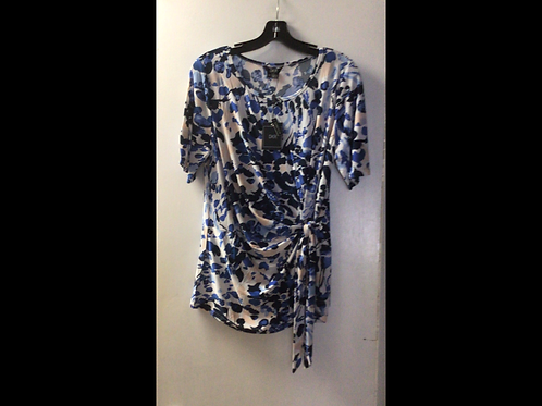 White with Blue and Cream Print Side Tied Shortsleeve Top