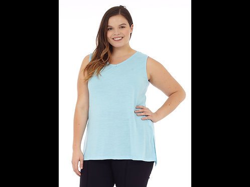Turquoise Full Figure V-Neck Linen Blend Tank Top