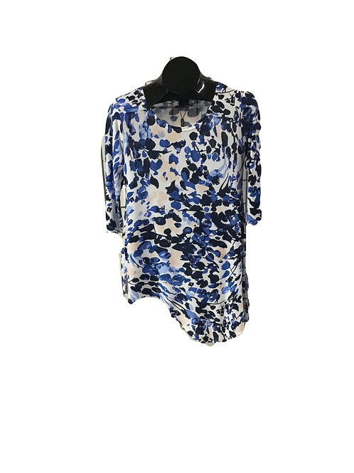 White with Blue and Cream Print 3/4 Sleeve Asymmetric Tunic