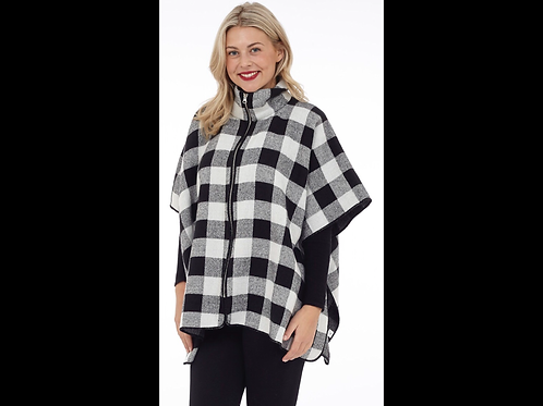 Buffalo Check Zip-up Cape