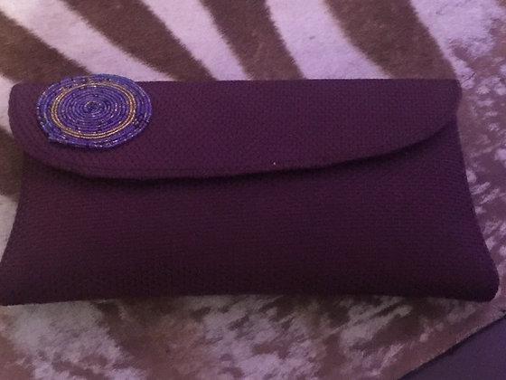 Deep Purple Clutch with Masai Beads