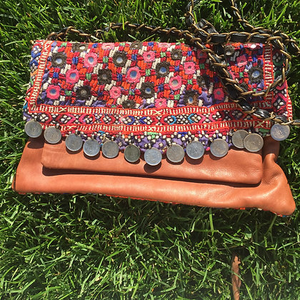 Brown Leather Clutch with Strap- Pink Accents