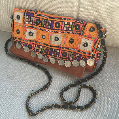 Boho Chic Autumn handbag- Clutch and Strap