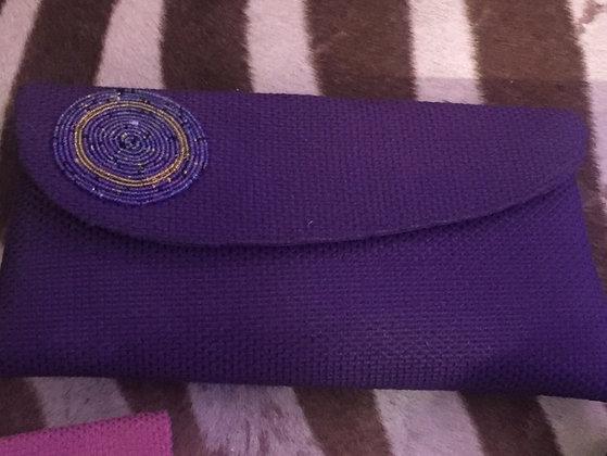 Purple Sisal Clutch with Masai Beads