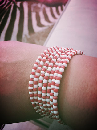 Wrap bracelet- Red & White