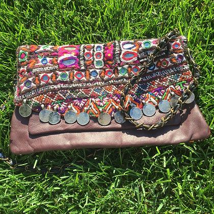 Dark Brown Leather Indian Boho Bag