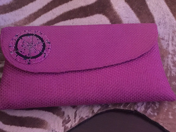 Pink Sisal Clutch with Masai Beads