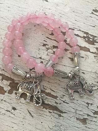 Rose Quartz Elephant Charm Bracelet