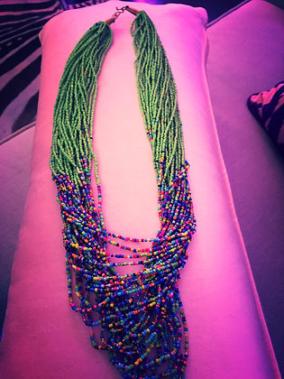 Kenyan Necklace- Green with Multi