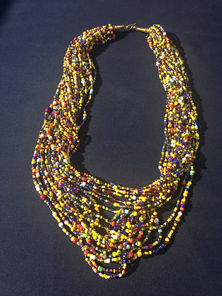 Handmade Multi Color Bead Necklace- Kenya
