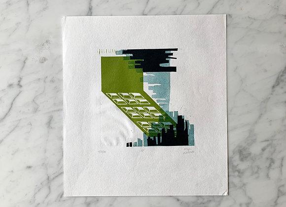 Original Art | Relief Block Print & Collage