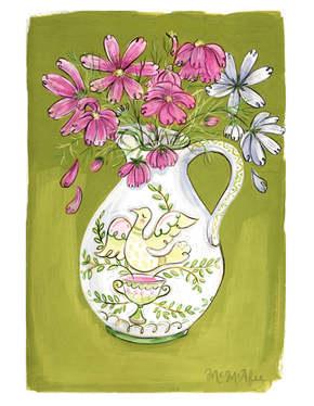 Bird Vase with Wildflowers