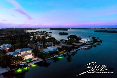 Longboat Key Waterfront at Twilight Twilight - Real Estate Photography - Bradenton & Sarasota, Florida - 360 Real Estate Services, LLC