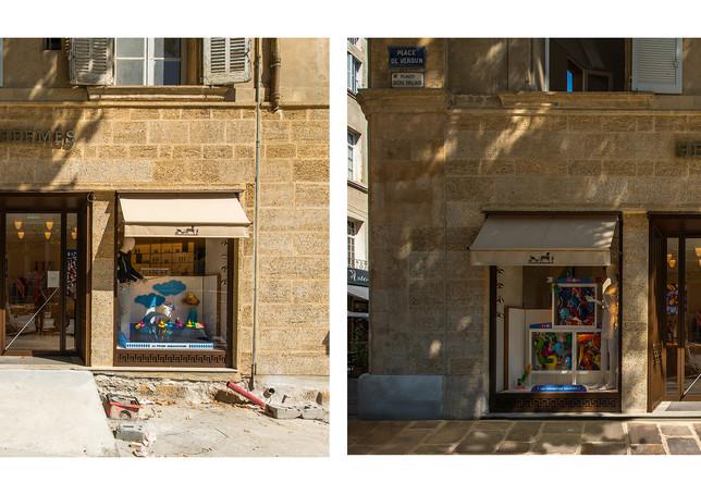 Vitrine Hermès, Aix-en-Provence. Avant/Après