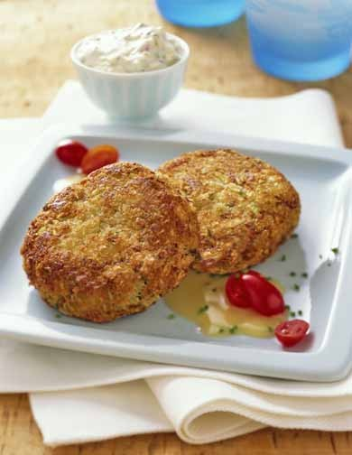 Crab Cakes.with Corn Cream