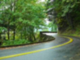 Winding road through mountains, trees. Path to highest potential.