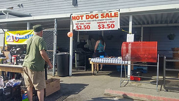 Hot dog sale at our annual garage sale