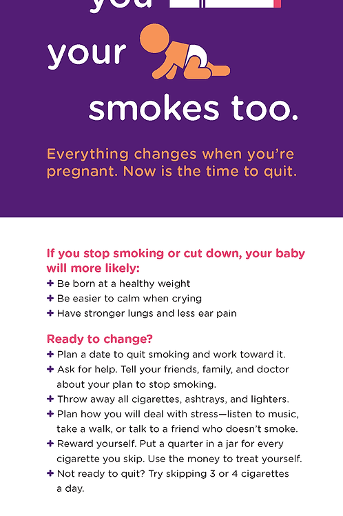 Smoking Cessation for Pregnant Women Rack Card (English)
