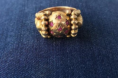Damenring Rose , Weltkugel mit Rubinen, 750er Weißgold