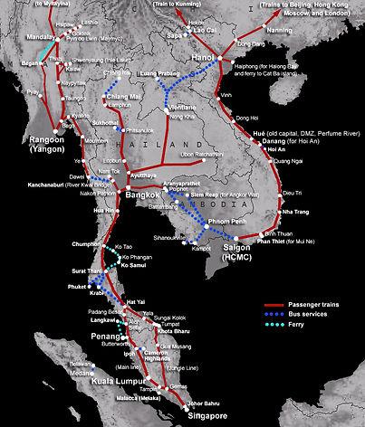 Карта железных дорог Юго-Влсточной Азии