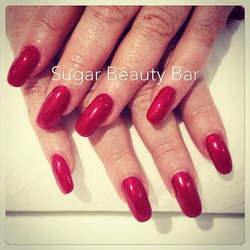 Round acrylic extensions with Shellac Tartan Punk #acrylicnails #acrylic #shellac #tartanpunk