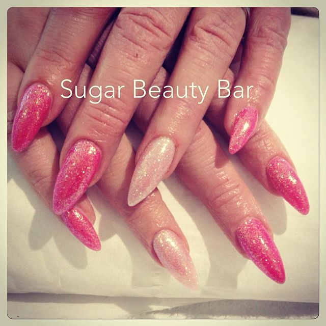 Extreme almond acrylic extensions with Shellac Pink Bikini, Grapefruit Sparkle and white glitter
