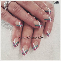 Acrylic infills with 70s inspired nail art