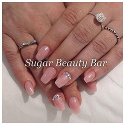 Beautiful soft ballerina acrylic extensions with CND Shellac Grapsefruit Sparkle and Swarovski detai