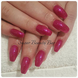 Ballerina acrylic extensions with Shellac butterfly queen