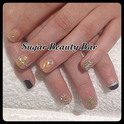 CND Shellac in Blackpool and Nude Knickers with eclectic gold designs #nailart #shellac