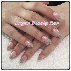 Shellac with Strawberry Smoothie and ombre silver glitter #sugarbeautybar #glitter #ombre