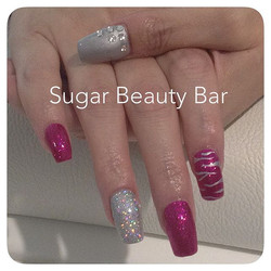 Tapered square acrylics with Shellac Butterfly Queen and Silver Chrome