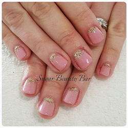 Shellac Rosebud with Blush Teddy and glitter detail