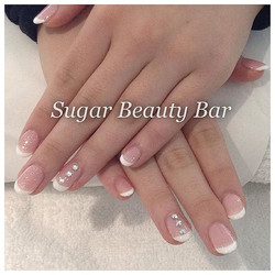 Such a stunning classic French Shellac in Grapefruit Sparkle and Studio White