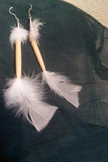 Gad White Feathered Earrings w Bone
