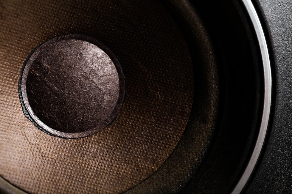 Detail shot of some old round speakers..