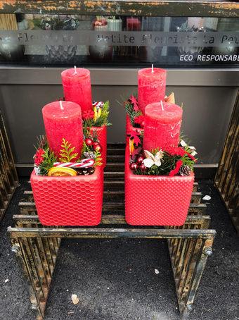 Arrangement bougie rouge Noël