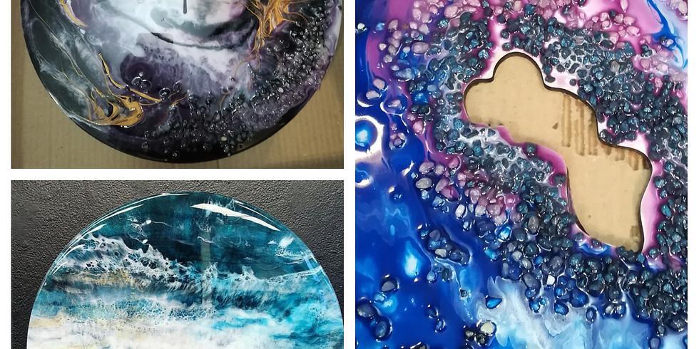 Resin Art (круг, часы и срез камня)