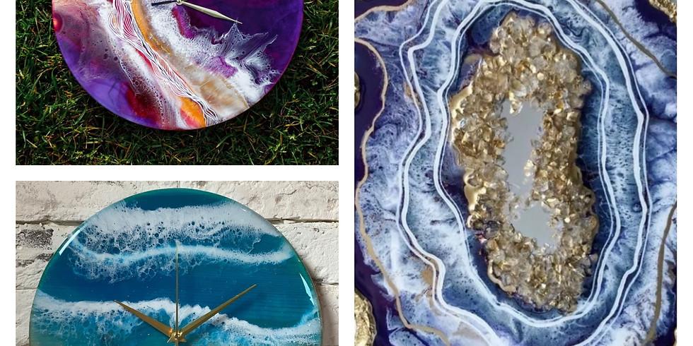 Resin Art (часы и срез камня)