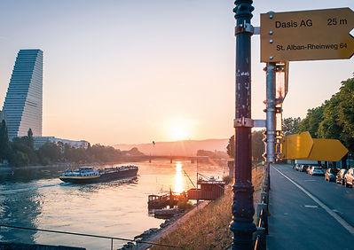 Rheinufer bei Sonnenaufgang, Dalbe, Basel, St. Alban