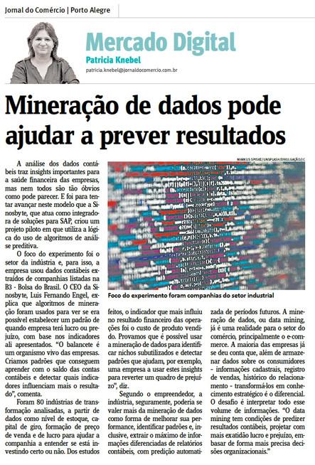 Jornal do Comércio destaca projeto piloto de mineração de dados para indústria elaborado pela Sinosb