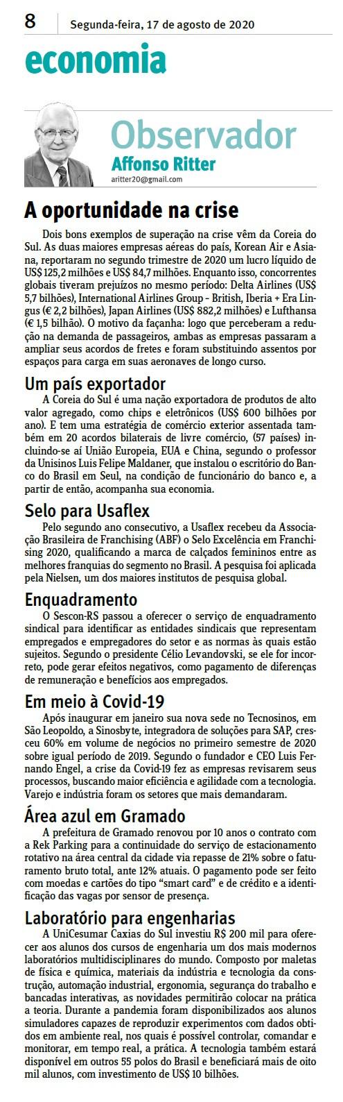 Coluna Observador do Jornal do Comércio (17/08/2020)