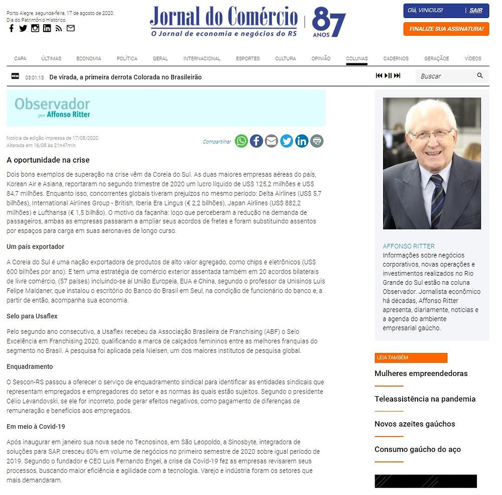 Coluna Observador do Jornal do Comércio online (18/08/2020)