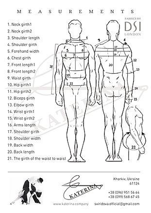 Measurements for Mens KATERINA