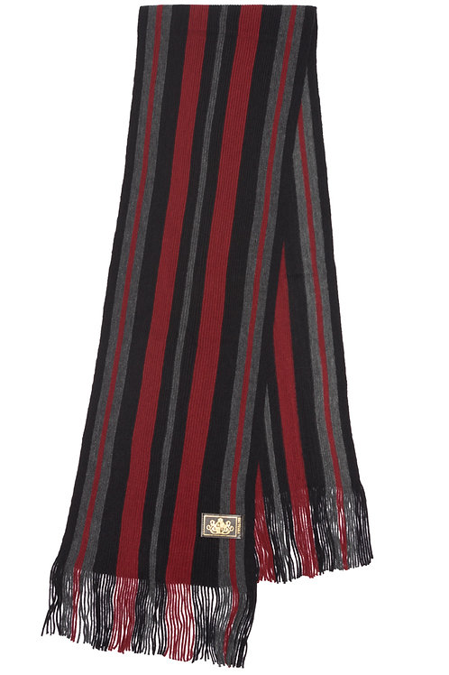 Style# 234 Grey and Burgundy Striped Scarf