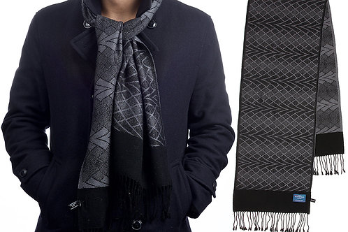 Merino Jacquard Wool Grey Print