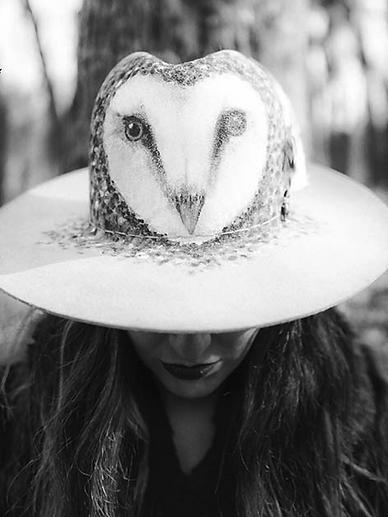 owl painted hat coup de tete hieram