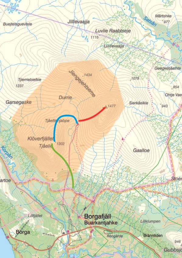 Orangemarkering av området, rött för populärtåk
