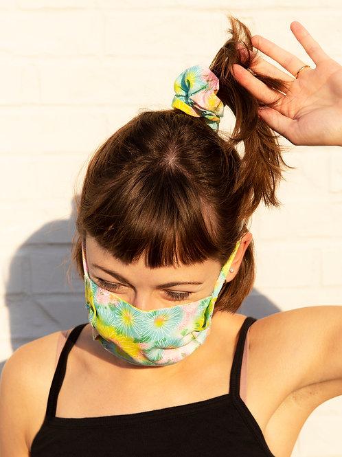 Neon Flower Ruffle Mask
