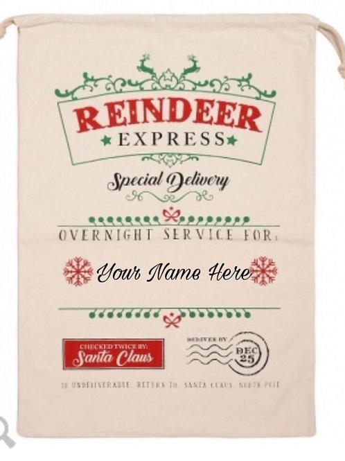 Reindeer Express Santa Sack